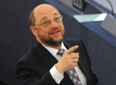Martin Schulz in the parliament today