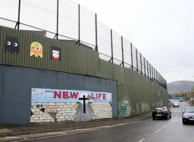 Belfast's largest 'Peace Wall', at Cuper Way in West Belfast.