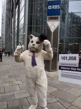 A 'fat cat' protesting outside RBS in London at the bonus awarded to Stephen Hester
