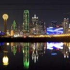 Night Dallas Skyline Flooded Trinity in Dallas, Texas, Thursday, Jan. 26, 2012. (AP/Brandon Wade)