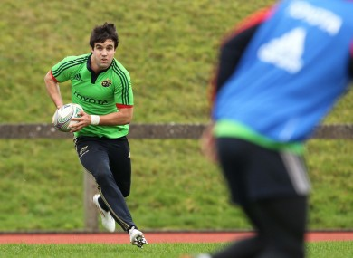 Conor Murray at Munster training this afternoon