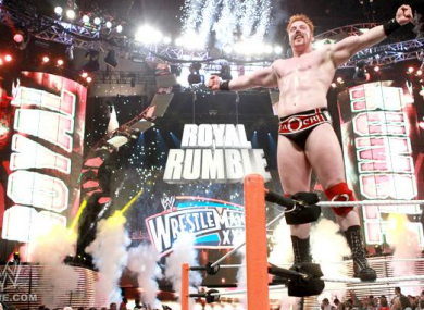 Sheamus (Stephen Farrelly) celebrates after winning the WWE Royal Rumble last night.