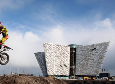 The Titanic Building in Belfast (plus, rider Gordon Crockard)