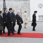 Michael D Higgins walks Xi Jinping to the car outside Aras an Uachtarain (Photo Sasko Lazarov/Photocall Ireland