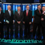 Broadcaster Pat Kenny laughs as Gerry Adams hugs Enda Kenny as Eamon Gilmore, John Gormley, and Micheal Martin look on at the first televised debate with all the five main party leaders takes place in RTE studios on Valentine's Day 2011 (Photo:Julien Behal/PA Wire)
