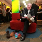 Pat Rabbitte tries on a pair of shoe's in Korky's shoe shop on Grafton Street Dublin near the start of the campaign last year. (Photo: Julian Behal/PA Wire)