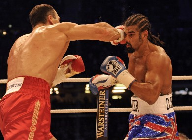 Wladimir Klitschko hits David Haye during their IBF, WBO, IBO and WBA championship bout last July.