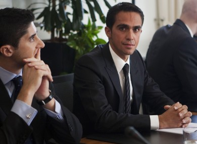 Spanish cyclist Alberto Contador, centre, and his lawyer Andy Ramos at CAS this week.