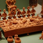 A clay piece from the permanent collection is displayed on the museum's day off at the National Hispanic Cultural Centre in Albuquerque, New Mexico. The cultural centre, like other Latino art centers across the US, has seen its public and private funding decrease during the economic downturn. (AP Photo/Russell Contreras)