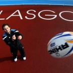 Glasgow Warriors' Ruaridh Jackson tosses a ball during the photocall at Scotstoun Stadium.