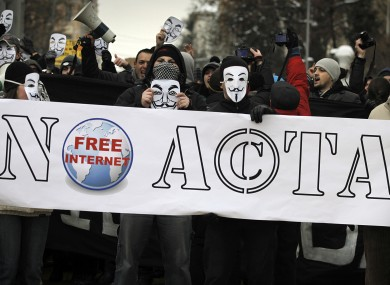 Anti-ACTA protesters in Sofia today.