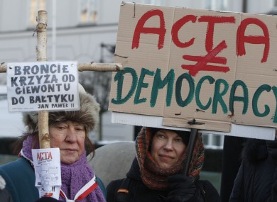 Anti-ACTA protesters in Warsaw, Poland at the weekend.