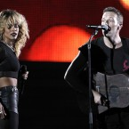 Rihanna and Chris Martin performing during the awards show (AP Photo/Matt Sayles)