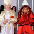 Nicki Minaj makes a typically under-stated arrival at the Grammy Awards(AP Photo/Chris Pizzello)