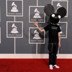Deadmau5 arriving at the awards. (AP Photo/Chris Pizzello)