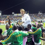 Renard Herve coach of Zambia being lifted high by his players after their Africa Cup of Nations victory.