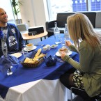 Everton's Tim Howard and Catherine Smith aged 21 from Wavertree during a Valentine's Lunch at Finch Farm.