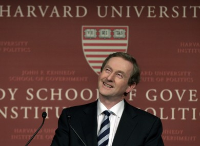 Taoiseach Enda Kenny at Harvard University's John F Kennedy School of Government yesterday