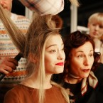 Models backstage for designer Felder Felder at London Fashion Week (PA)