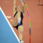 Great Britain's Holly Bleasdale in action in the Women's Pole Vault final. (PA)