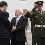 President Michael D Higgins shakes hands with Xi Jinping outside Aras an Uachtarain this afternoon (Photo: Niall Carson/PA Wire)