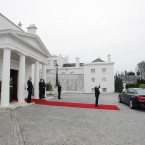 Michael D Higgins waves goodbye to Xi Jinping outside Aras an Uachtarain (Photo: Niall Carson/PA Wire)