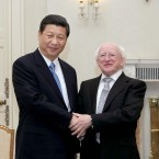 Xi Jinping and Michael D Higgins this afternoon (Photo: Maxwells/PA Wire)