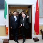 Michael D Higgins welcomes Xi Jinping to Aras an Uachtarain (Photo: Maxwells/PA Wire)