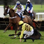 Black Cache and Jeremiah McGrath fall at the last in the Wetherby Racecourse Sunday Car-Boot-Sale Conditional Jockeys' Handicap Hurdle at Wetherby Racecourse. Pic: John Giles/PA Wire