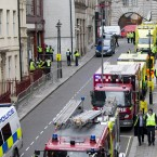 London's Emergency Services take part in today's Olympics and Paralympics exercise at the disused Aldwych underground station. (John Phillips/UK Press/Press Association Images)