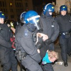 Police drag a protester from the camp. Photo: Lewis Whyld/PA Wire