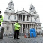 Police stand outside St Paul's Cathedral, London, after anti-capitalist protesters were evicted from the area, more than four months since their occupation began. Photo: Sean Dempsey/PA Wire