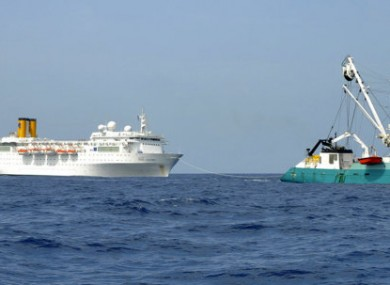 Photo take yesterday of the French fishing boat The Trevignon towing the Allegra.