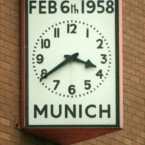 The famous clock on the forecourt at Old Trafford.