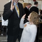 Gerry Adams gives a high five to eight year old Kaitlyn Leavy from Ardee after finding out that he had topped the poll. (Photo Eamonn Farrell/Photocall Ireland)