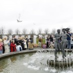 48 Doves are released at the Stardust Memorial after the Stardust Tragedy 25th Anniversary Mass in Coolock in 2006