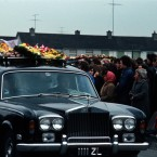 The coffins of four young people, who died in the fire in the Stardust disco on the morning of St. Valentines Day 1981, leave the Church of St Luke the Evangelist in Kilmore. 