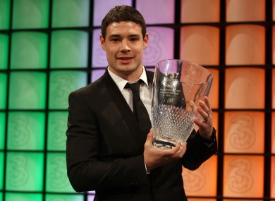 Darren O'Dea with his 3 FAI Young International Player of the Year Award.