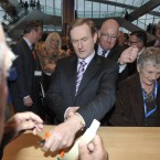 Taoiseach and party leader Enda Kenny picks up his convention pass Photo: Sasko Lazarov/Photocall Ireland