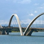 This unusually shaped bridge is named after a former president of Brazil. It crosses Lake Paranoá in Brasília.