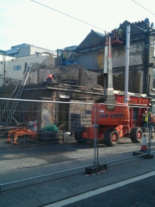The scene at Benburb Street at 8am today