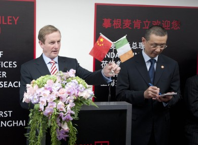 Taoiseach, Enda Kenny at the opening of Morgan McKinley's offices in Shanghai's Pudong high growth economic zone.