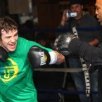 Macklin works up a sweat in the ring.