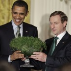 Shortly after his election as Taoiseach last year, Enda Kenny travelled over to Washington for his first White House shamrock session. (AP Photo/PA Images)