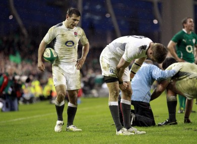 Care (left) in action for England at the Aviva last year.