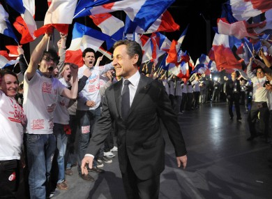 Sarkozy at a meeting in Bordeaux at the weekend