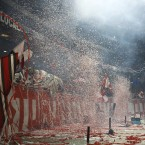 Supporters throw confetti and streamters at the start of a CONCACAF Champions League quarterfinal soccer match. (AP Photo/The Canadian Press, Chris Young)