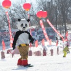 A ski fan dressed as panda skis during an Underwear Ski Festival at Lotus Mountain Ski Resort, China. (Photo by Wu Ting/ChinaFotoPress)
