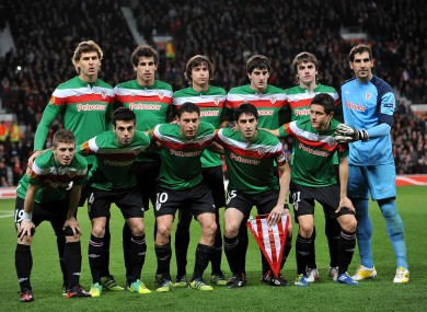 The Bilbao team before last week's win at Old Trafford.