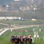 The field in action during the Coral Cup on Ladies Day.